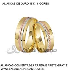 Alianças duas cores de Ouro 18 k - JA-85 - Enlace Alianças de ouro 18k
