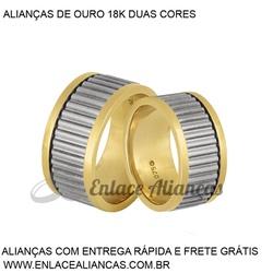 Alianças duas cores de Ouro 18 k - JN-112 - Enlace Alianças de ouro 18k
