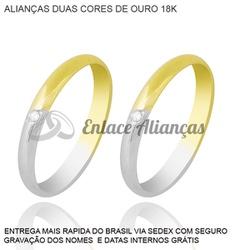 Alianças de duas cores de ouro 18 k - MMB-31 - Enlace Alianças de ouro 18k
