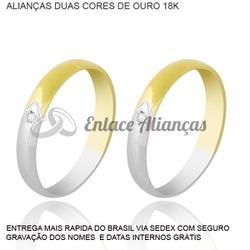 Alianças de duas cores de ouro 18 k - MMB-36 - Enlace Alianças de ouro 18k