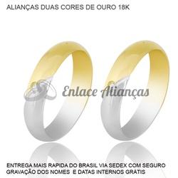 Alianças de duas cores de ouro 18 k - MMB-50 - Enlace Alianças de ouro 18k