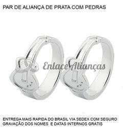 Par de Alianças Personalizadas de Guitarra em Prat... - Enlace Alianças de ouro 18k