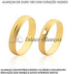 Alianças de Ouro 18 k com coração vazado - JN-447... - Enlace Alianças de ouro 18k