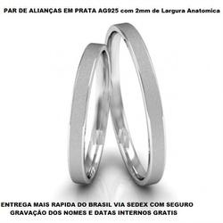 Par de Alianças de Prata 0,950 fosca - E1001 - Enlace Alianças de ouro 18k