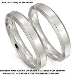 PAR DE ALIANÇAS DE PRATA RETA CHANFRADA LISA - E10... - Enlace Alianças de ouro 18k