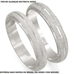 PAR DE ALIANÇAS DE PRATA ABAULADA FOSCA - E1003 - Enlace Alianças de ouro 18k