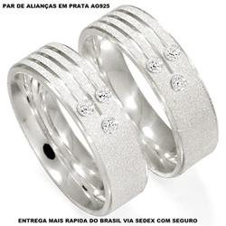 Par de Alianças em prata com pedras - E1004 - Enlace Alianças de ouro 18k