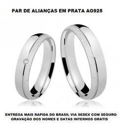 PAR DE ALIANÇAS DE PRATA ABAULADA FOSCA E POLIDA -... - Enlace Alianças de ouro 18k