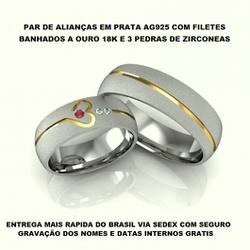 PARA DE ALIANÇAS DE PRATA COM BANHO DE OURO 18K E ... - Enlace Alianças de ouro 18k