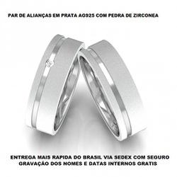 PAR DE ALIANÇAS DE PRATA COM ZIRCONIA - E1008 - Enlace Alianças de ouro 18k