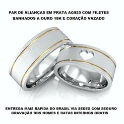 PAR DE ALIANÇAS DE PRATA COM BANHO DE OURO 18K COR... - Enlace Alianças de ouro 18k