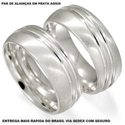 PARA DE ALIANÇAS DE PRATA ABAULADA - E1010 - Enlace Alianças de ouro 18k