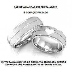 PARA DE ALIANÇAS DE PRATA COM CORAÇÃO VAZADO - E10... - Enlace Alianças de ouro 18k