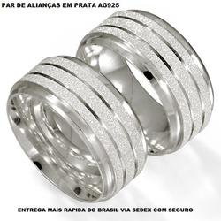 PARA DE ALIANÇAS DE PRATA RETA E FOSCA - E1013 - Enlace Alianças de ouro 18k