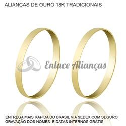 Alianças de Ouro 18 k Tradicional - AM-20 - Enlace Alianças de ouro 18k