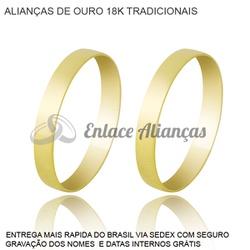 Alianças de Ouro 18 k Tradicional - AM-30 - Enlace Alianças de ouro 18k