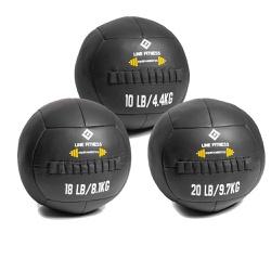 Kit Wall Ball 4 Kg - 8 Kg - 10 Kg em Couro - Equipamentos Line Fitness
