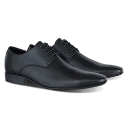 Sapato Social Derby em Couro Legítimo com Cadarço - ESCRETE