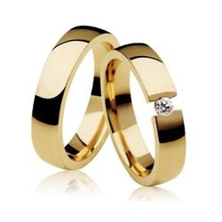 Par De Aliança Casamento De Ouro 18k Com Diamante ... - Fábrica do Ouro