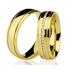 Par De Aliança Casamento De Ouro 18k Com 5mm Zircô... - Fábrica do Ouro
