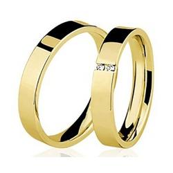 Par De Aliança Casamento De Ouro 18k Com 3mm e Dia... - Fábrica do Ouro