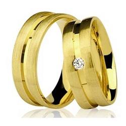 Par De Aliança Casamento De Ouro 18k Com 5mm e Dia... - Fábrica do Ouro