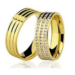 Par De Aliança Casamento De Ouro 18k De 6mm - 1005... - Fábrica do Ouro