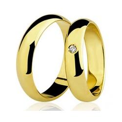 Par De Aliança Casamento De Ouro 18k Com 4mm e Dia... - Fábrica do Ouro