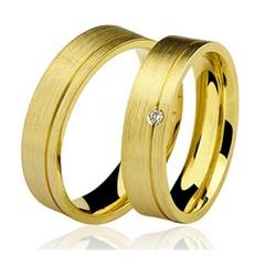 Par De Aliança Casamento De Ouro 18k De 5mm Com Di... - Fábrica do Ouro