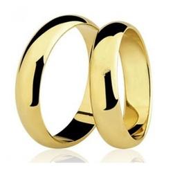 Par De Aliança Casamento De Ouro 18k Com 4mm Tradi... - Fábrica do Ouro