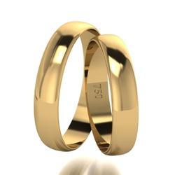 Par De Aliança De Ouro 18k Tradicional Com 5,0mm -... - Fábrica do Ouro