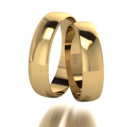 Par De Aliança De Ouro 18k Tradicional Com 6,0mm -... - Fábrica do Ouro