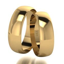Par De Aliança De Ouro 18k Tradicional Com 7,0mm -... - Fábrica do Ouro