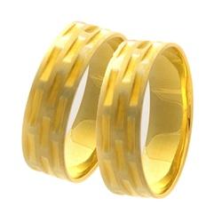 Par De Aliança Casamento De Ouro 18k Com 5mm Traba... - Fábrica do Ouro