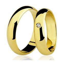 Par De Aliança Casamento De Ouro 18k Com 5mm e Zir... - Fábrica do Ouro