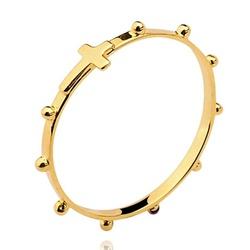 Anel De Ouro 18k Terço e Cruz Com 1,5mm - 100258 - Fábrica do Ouro