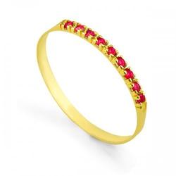 Meia Aliança De Ouro 18k Com 8 Rubis De 1 Ponto - ... - Fábrica do Ouro