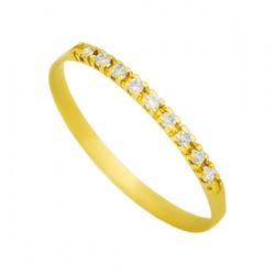 Meia Aliança De Ouro 18k Com 8 Diamantes De 1 Pont... - Fábrica do Ouro