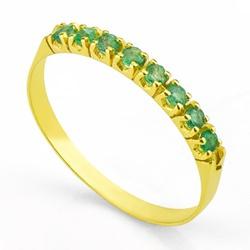 Meia Aliança De Ouro 18k Com 8 Esmeraldas De 3 Pon... - Fábrica do Ouro
