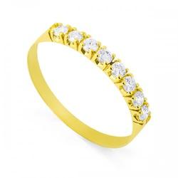 Meia Aliança De Ouro 18k Com 8 Diamantes De 3 Pont... - Fábrica do Ouro
