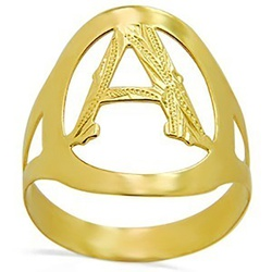 Anel De Ouro 18k Com Letra ( a à z ) - 100400 - Fábrica do Ouro