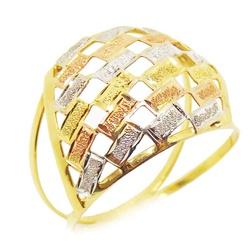 Anel De Ouro 18k Retângulos Tricolor - 100403 - Fábrica do Ouro
