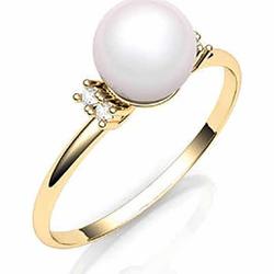 Anel De Ouro 18k Solitário Jewel Com Pérola De 8 M... - Fábrica do Ouro
