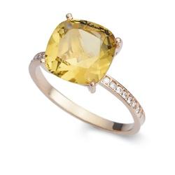 Anel De Ouro 18k Com Citrino e Diamantes - 100784 - Fábrica do Ouro