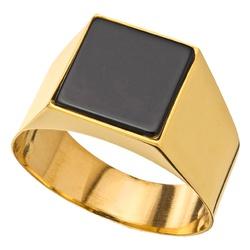 Anel De Ouro 18k Comendador Com Pedra Ônix - 10083... - Fábrica do Ouro