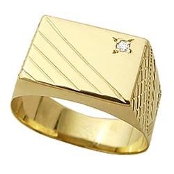 Anel De Ouro 18k Chapa Com Diamante De 1 Ponto - 1... - Fábrica do Ouro