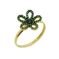 Anel De Ouro 18k Flor De Zircônias Verdes - 100848 - Fábrica do Ouro