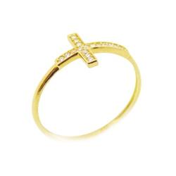 Anel De Ouro 18k Cruz De 1,5mm Com Zircônias - 100... - Fábrica do Ouro