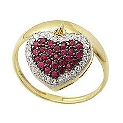 Anel De Ouro 18k Com Coração De Rubis - 100914 - Fábrica do Ouro