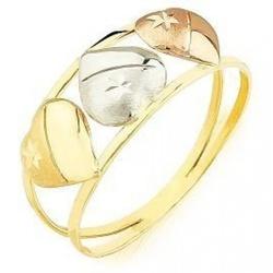 Anel De Ouro 18k Três Corações Tricolor - 101500 - Fábrica do Ouro
